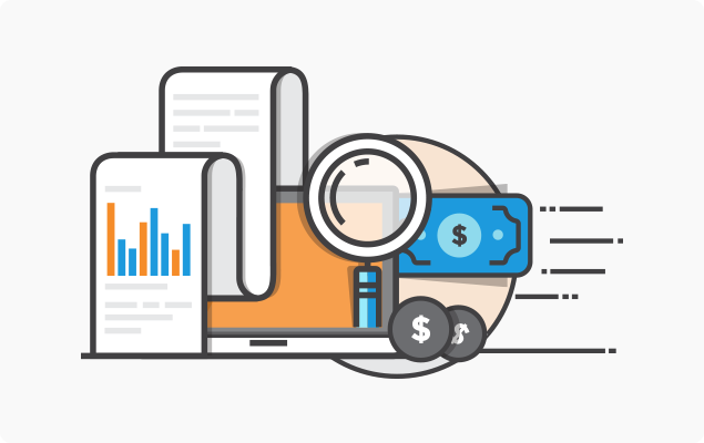 Icon with graphs, money and magnifying glass
