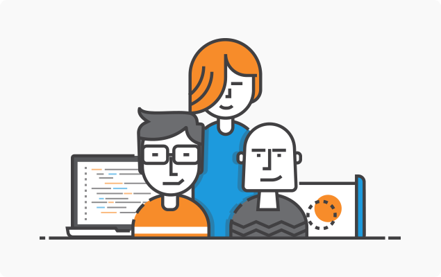 Icon of three people and computers around Salesforce community cloud